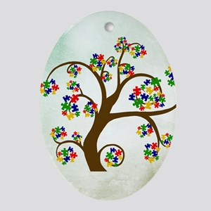 Autism Tree of Life Oval Ornament