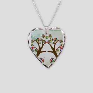 Autism Tree of Life Necklace Heart Charm