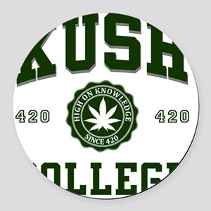 KUSH_COLLEGE_ Round Car Magnet