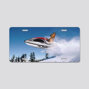 Final dachshund Dog on jets Aluminum License Plate