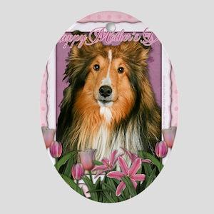 PinkTulipsSheltie_5x7_V Oval Ornament