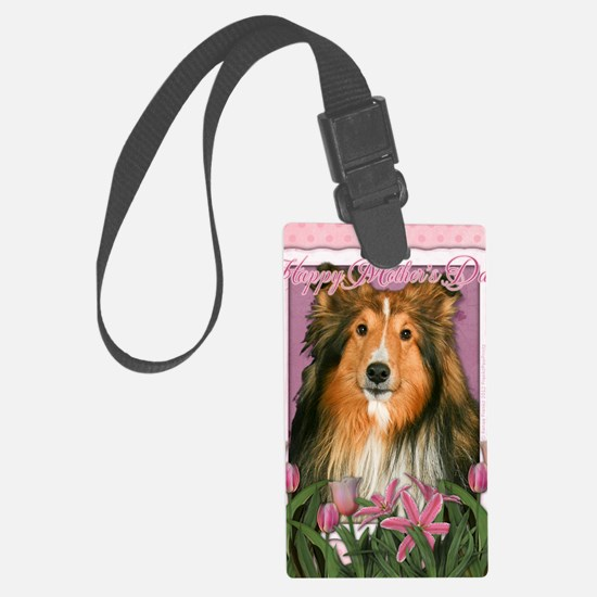 PinkTulipsSheltie_5x7_V Luggage Tag