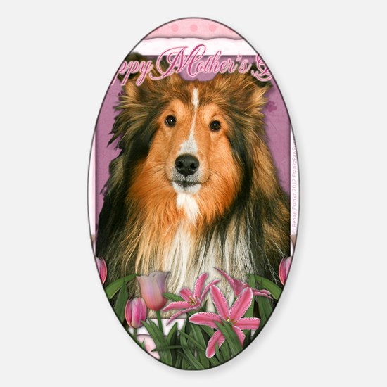 PinkTulipsSheltie_5x7_V Sticker (Oval)
