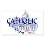 Catholic and Christian (Blue) Sticker Rectangular