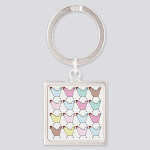 chick-dots Square Keychain