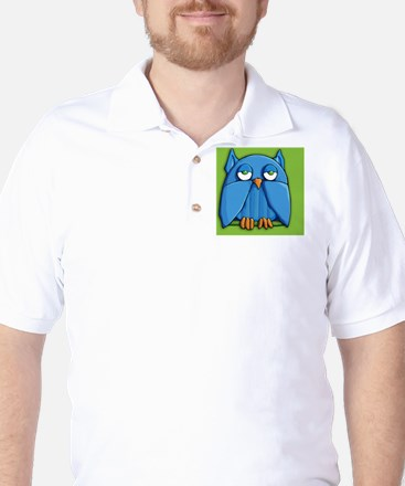 Clutch Aqua Owl green Golf Shirt