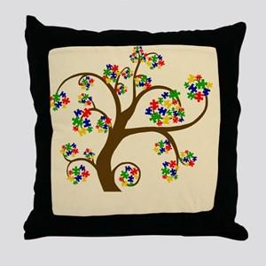 Autism Tree of Life Throw Pillow