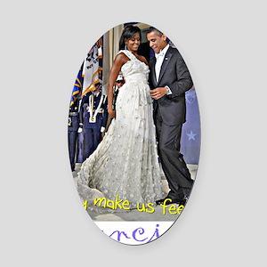 Dancing Obamas Oval Car Magnet