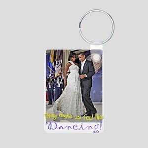 Dancing Obamas Aluminum Photo Keychain