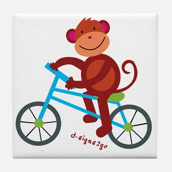 Monkey in Blue Bike Tile Coaster