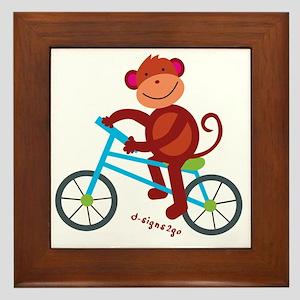 Monkey in Blue Bike Framed Tile