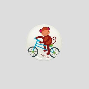 Monkey in Blue Bike Mini Button