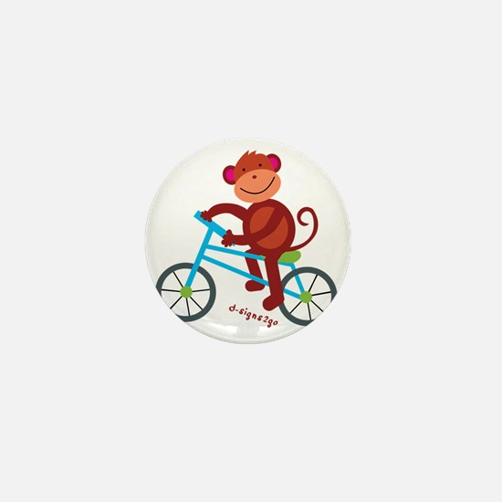Monkey in Blue Bike Mini Button