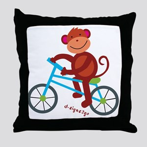 Monkey in Blue Bike Throw Pillow