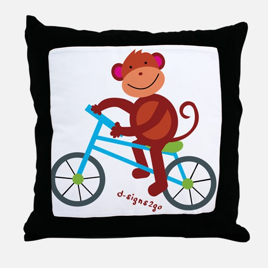 Monkey in Blue Bike Throw Pillow