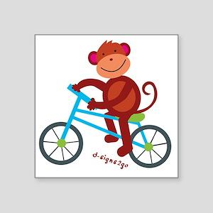 "Monkey in Blue Bike Square Sticker 3"" x 3"""