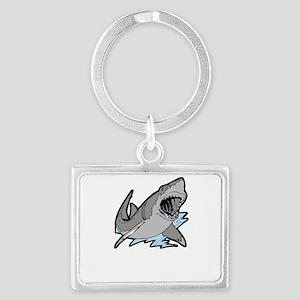 sharkattackwhite Landscape Keychain