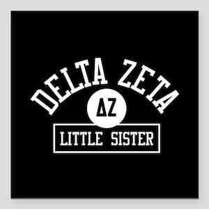 "Delta Zeta Little Sister Square Car Magnet 3"" x 3"""