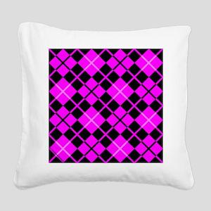 throwpillowpinkargyle Square Canvas Pillow