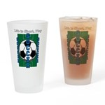 Life Is Short Play Soccer In Blue - Drinking Glass