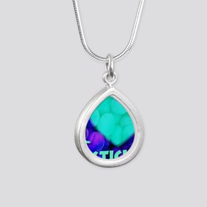 ilove_testicals_blue_inf Silver Teardrop Necklace