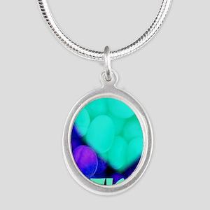 ilove_testicals_blue_informal Silver Oval Necklace