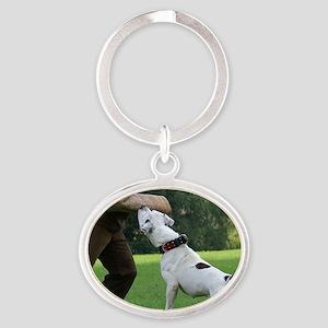 american bulldog b Oval Keychain
