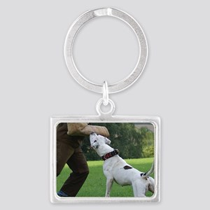 american bulldog b Landscape Keychain