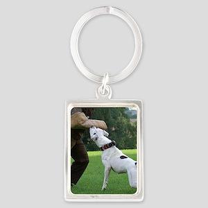 american bulldog b Portrait Keychain