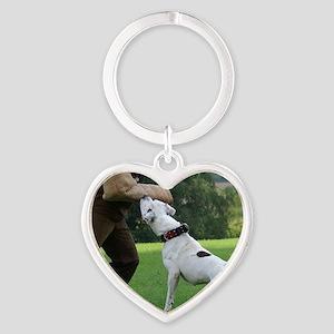 american bulldog b Heart Keychain