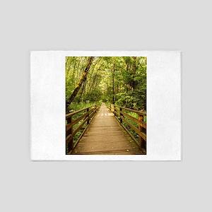 Scenery rustic wooden bridge pathwa 5'x7'Area Rug
