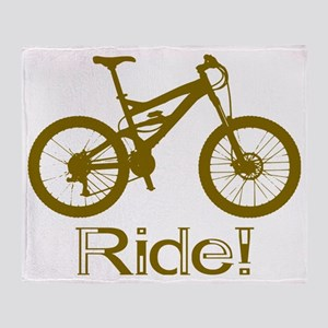 MTB-Ride-Brown Throw Blanket