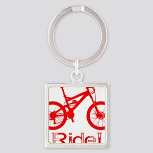 MTB-Ride-Red Square Keychain
