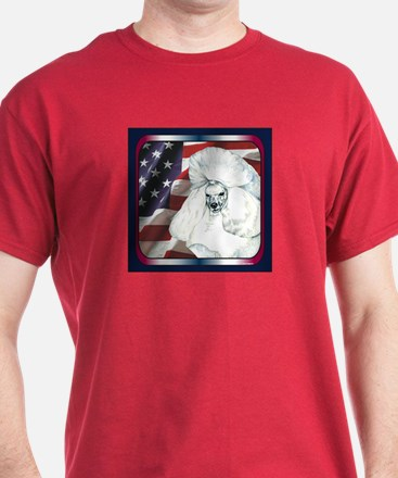 White Poodle Flag Patriotic Dark Colored T-Shirt