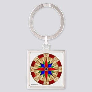 Compass_Rose_10x10_apparel Square Keychain