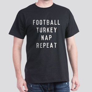 Football Turkey Nap Repeat Dark T-Shirt
