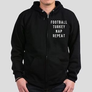 Football Turkey Nap Repeat Zip Hoodie (dark)