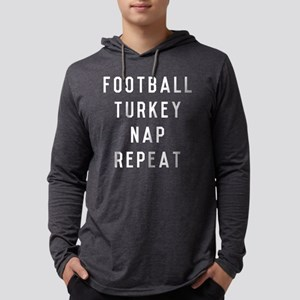 Football Turkey Nap Repeat Mens Hooded Shirt