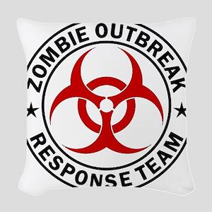 zombie-outbreak-white Woven Throw Pillow