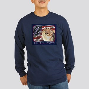 Pomeranian US Flag Pom Long Sleeve Dark T-Shirt