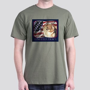 Pomeranian US Flag Pom Dark Colored T-Shirt