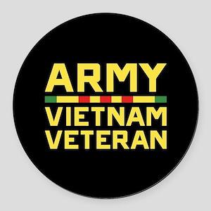 Army Vietnam Veteran Round Car Magnet