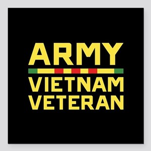 "Army Vietnam Veteran Square Car Magnet 3"" x 3"""