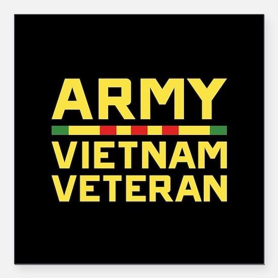 "Army Vietnam Veteran Square Car Magnet 3"" x 3"""