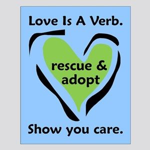 Love Is A Verb Small Blue and Green Poster