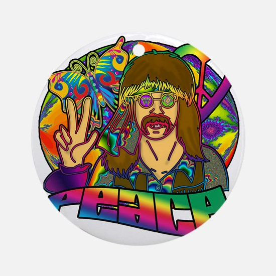 PSYCHEDELIC-PEACE Round Ornament