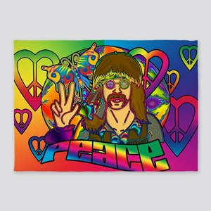 PSYCHEDELIC-PEACE-banner 5'x7'Area Rug