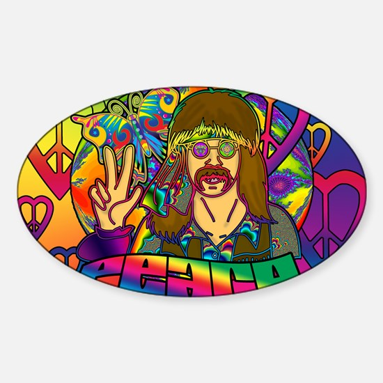 PSYCHEDELIC-PEACE-banner Sticker (Oval)