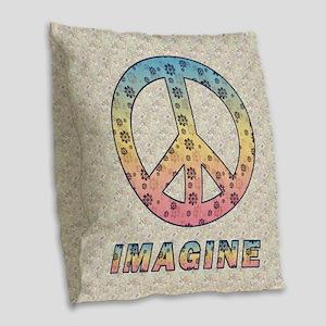 imaginepeaceSC1 Burlap Throw Pillow
