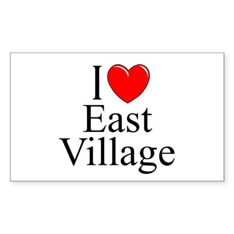"""I Love East Village"" Rectangle Sticker"